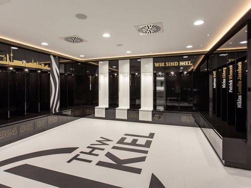 Umkleide Kabine des THW Kiel in der Ostseehalle